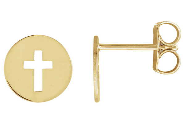 Pierced Cross Small Disc Earrings, 14K Gold