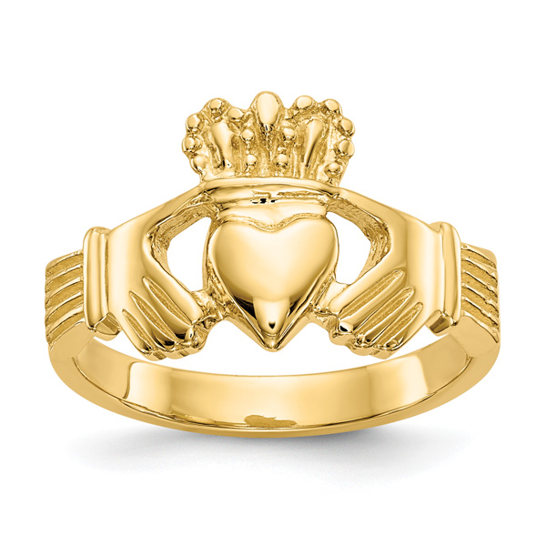 14K Gold Polished Claddagh Ring for Women