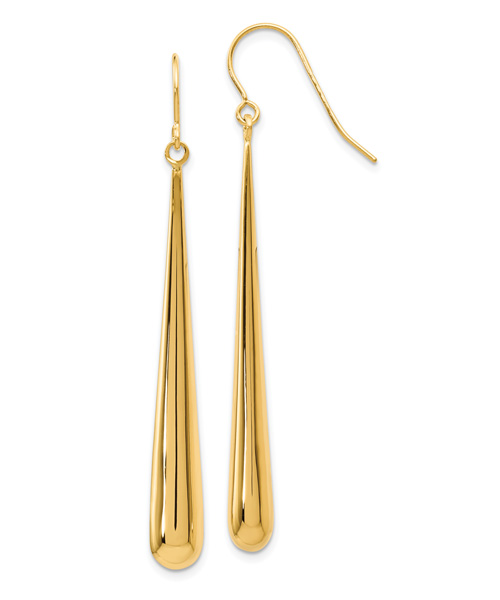 14K Gold Polished Drop and Dangle Earrings