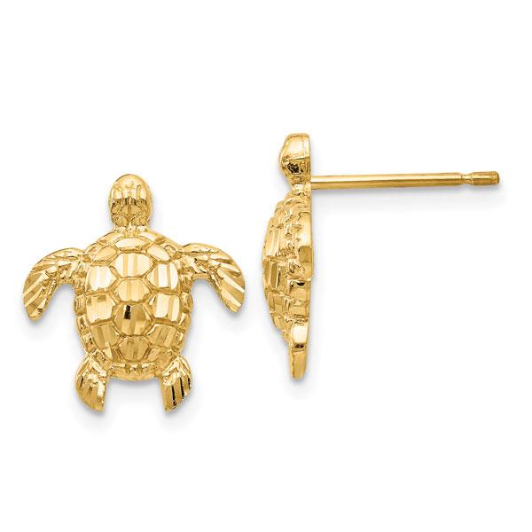 14K Gold Sea Turtle Stud Earrings