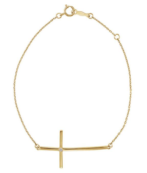 Sideways Diamond Cross Bracelet in 14k Gold