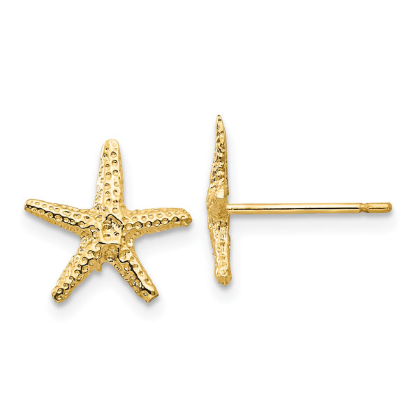 14K Gold Starfish Stud Earrings