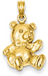 14K Gold Teddy Bear Pendant