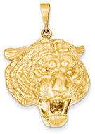 Large 14K Gold Tiger Head Pendant