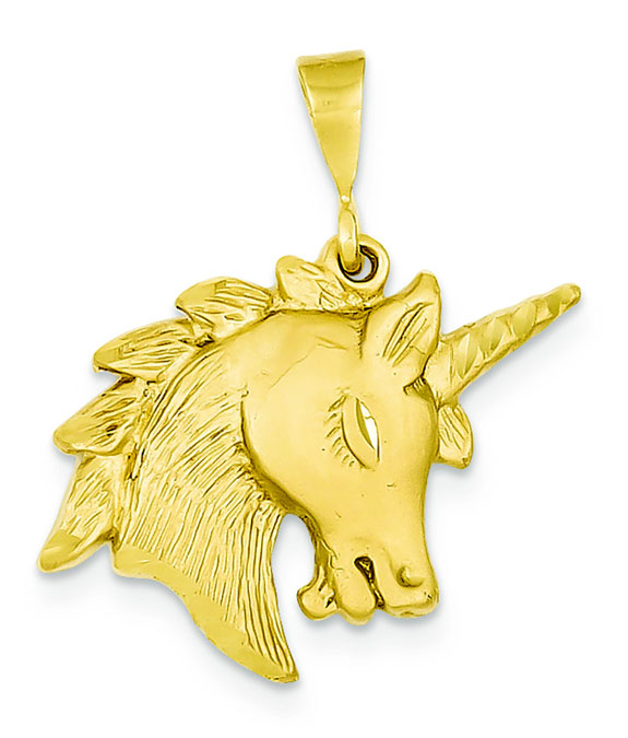 Unicorn Head Pendant, 14K Gold