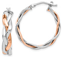 14K Rose and White Gold Braided Hoop Earrings