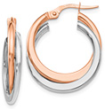 14K Rose and White Gold Double Hinged Hoop Earrings