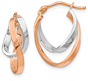 14K Rose and White Gold Oval Twist Hoop Earrings