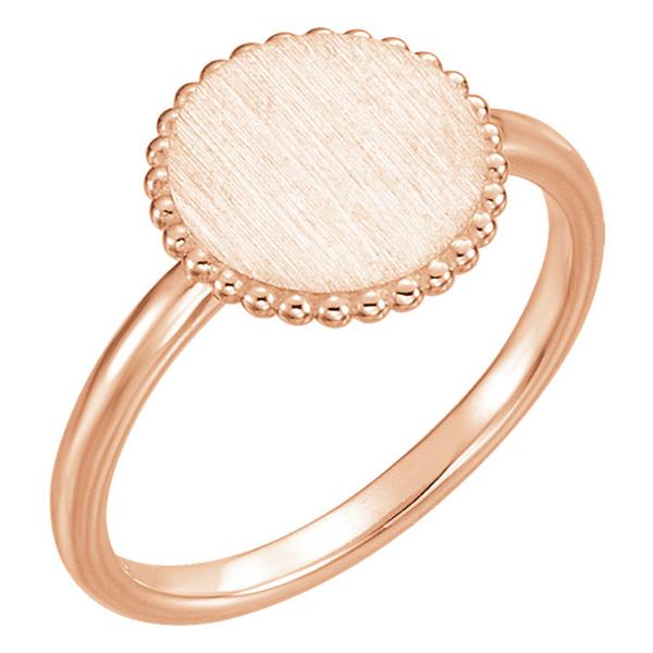 14K Rose Gold Engraveable Circle Signet Ring