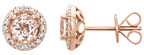14K Rose Gold Morganite and Diamond Halo Earrings
