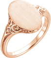 14K Rose Gold Paisley Scroll Oval Signet Ring
