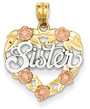 14K Gold Three-Tone Sister Heart Pendant