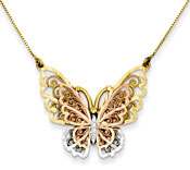 14K Tri-Color Gold Filigree Butterfly Necklace