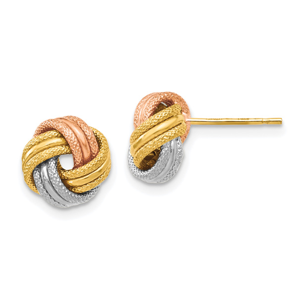 14K Tri-Color Gold Textured Love-Knot Earrings