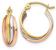 14K Tri-Color Gold Triple Hoop Earrings