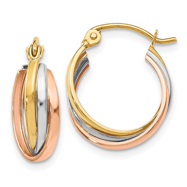 14K Tri-Color Gold Triple Hoop Earrings