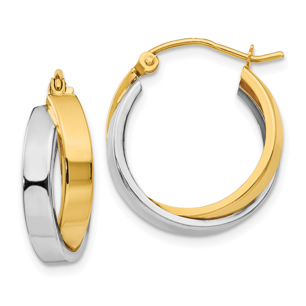 Small 14K Two-Tone Gold Polished Double Hoop Earrings