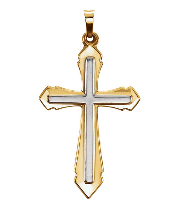 14K Two-Tone Gold Sword of the Spirit Cross Necklace