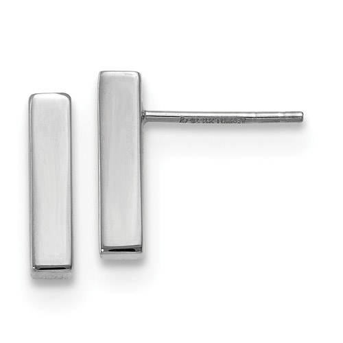 14K White Gold Polished Bar Earrings
