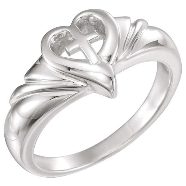 14K White Gold Cross Heart Swirl Ring for Women