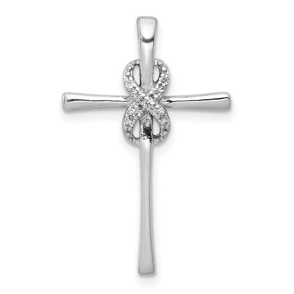 Diamond Infinity Cross Necklace in 14K White Gold