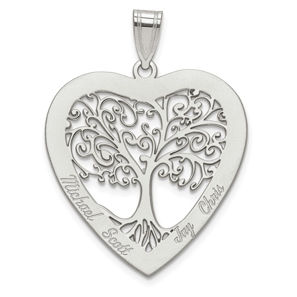 Engravable Family Tree Heart Necklace in Sterling Silver