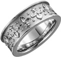 Fluer-de-Lis Wedding Band Ring in 14K White Gold