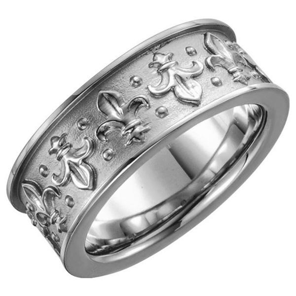 Fluer-de-Lis Wedding Band Ring in 14K White Gold