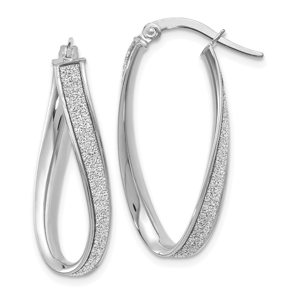 14K White Gold Glimmer Infused Oval Hoop Earrings