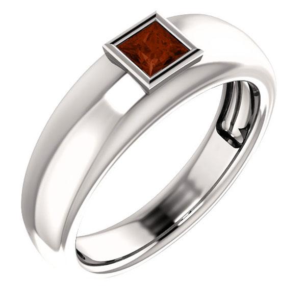 14K White Gold Men's Princess-Cut Garnet Ring