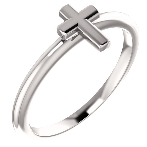 14K White Gold Cross Ring for Women