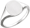 14K White Gold Polished and Satin Signet Ring