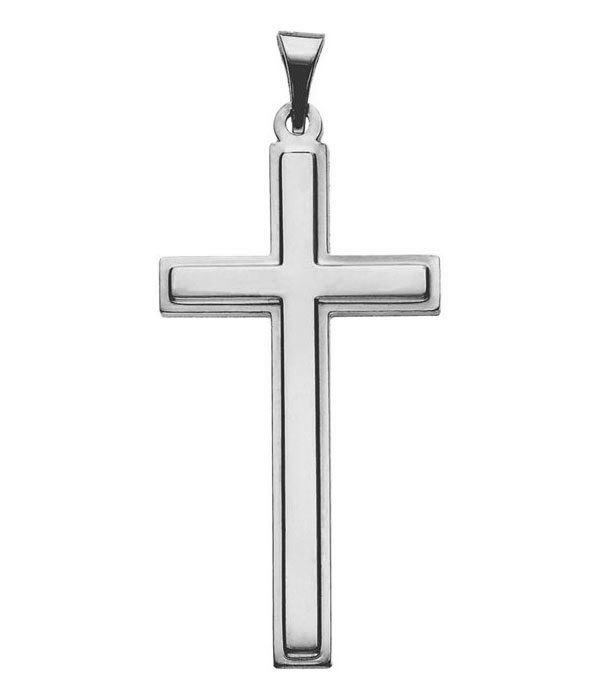 14K White Gold Roman Cross Necklace