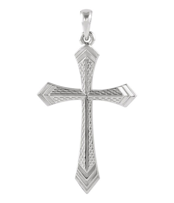 14K White Gold Two-Edged Sword Cross Necklace for Women