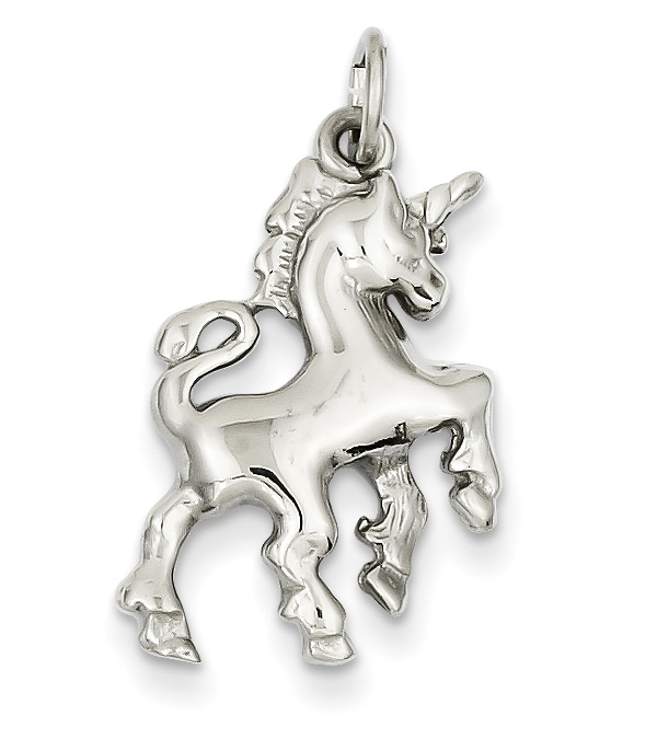 14K White Gold Unicorn Charm Pendant
