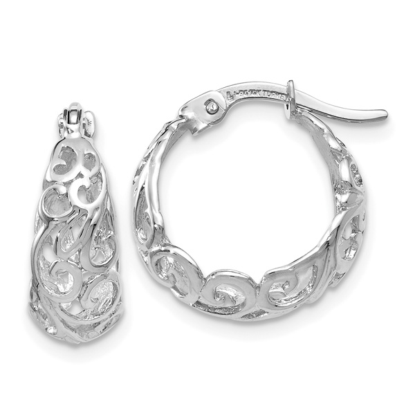 Small 14K White Gold Cut-Out Paisley Hoop Earrings