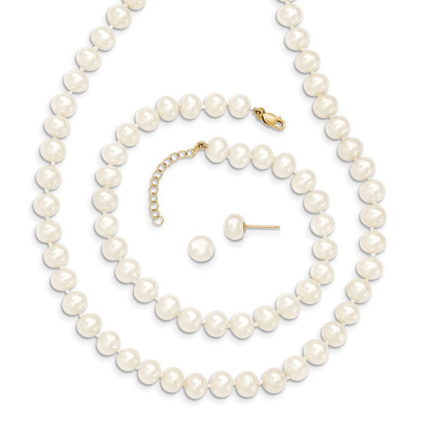 14K Yellow Gold Cultured Freshwater Pearl Set with Extension