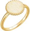 Custom Circle Engraveable Signet Ring, 14K Yellow Gold