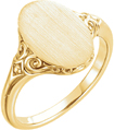 14K Yellow Gold Paisley Oval Signet Ring