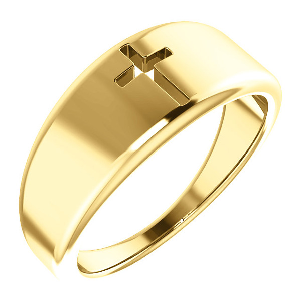 14K Yellow Gold Pierced Cross Ring for Women