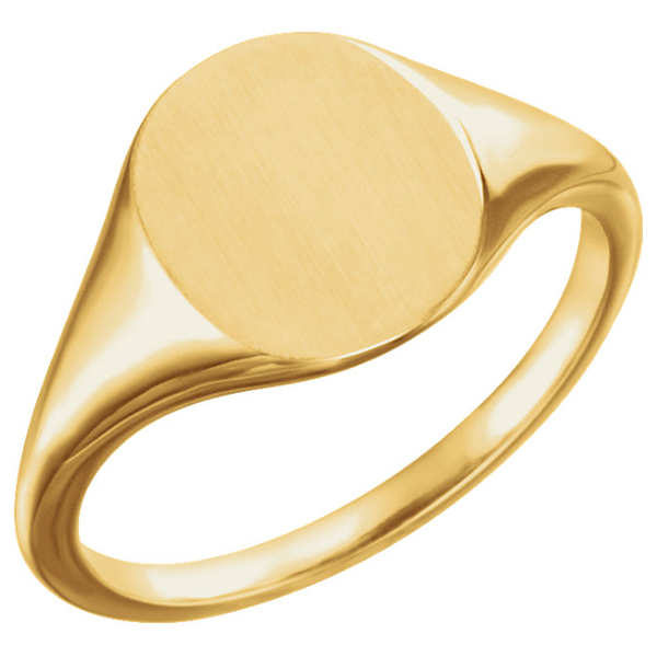 14K Yellow Gold Engravable Satin and Polished Signet Ring