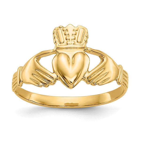 14K Yellow Gold Women's Claddagh Ring