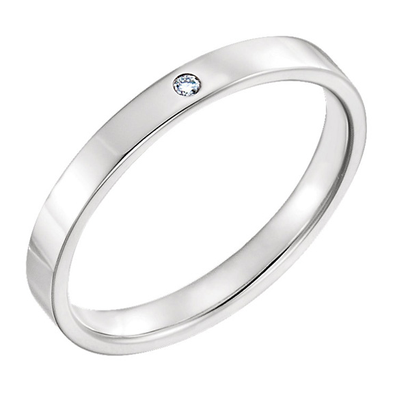 Women's 2.5mm Flat Diamond Wedding Band Ring, 14K White Gold
