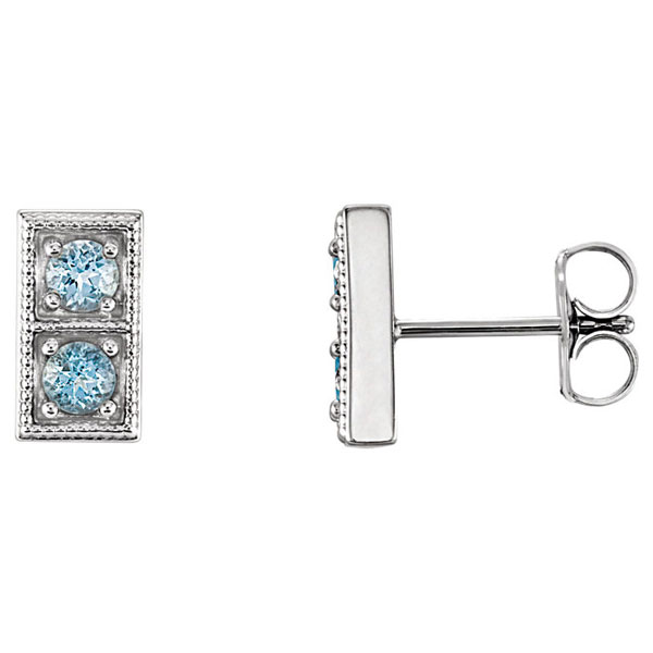 2-Stone Aquamarine Stud Earrings