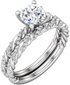 3/4 Carat Diamond Bridal Swirl Band and Engagement Ring Set