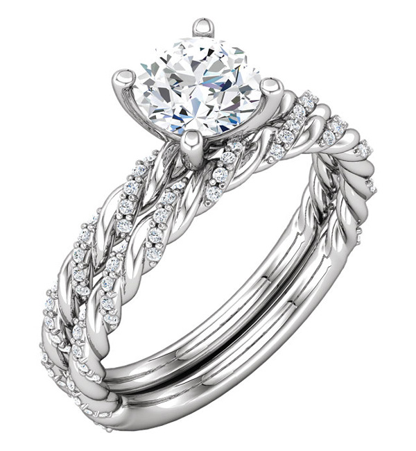 1 Carat Diamond Band Swirl Engagement Ring