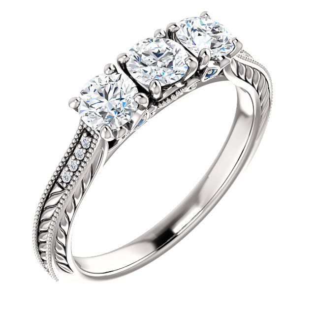 3/4 Carat Three Stone Diamond Fluerie Engagement Ring