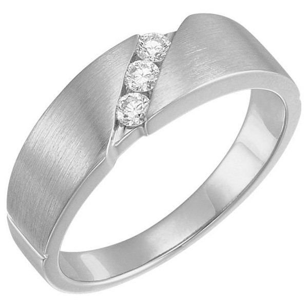 3-Stone 1/5 Carat Diamond Wedding Band Ring for Men, 14K White Gold
