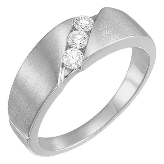 3-Stone 1/5 Carat Diamond Wedding Band Ring for Women, 14K White Gold