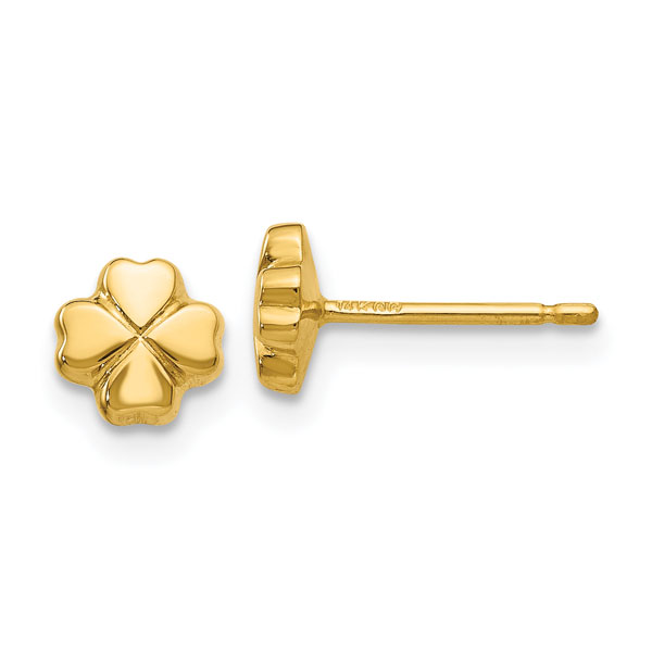4-Leaf Clover Stud Earrings, 14K Gold
